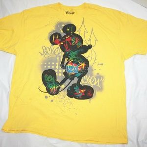 Disney Mickey Mouse Mens Vtg 90s Yellow Colorful G